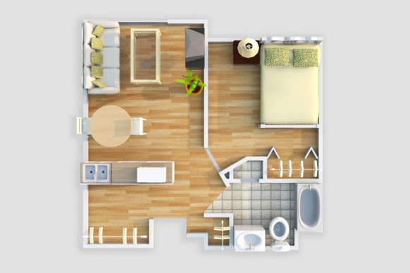 One Bedroom Single/Couple Floor Plan